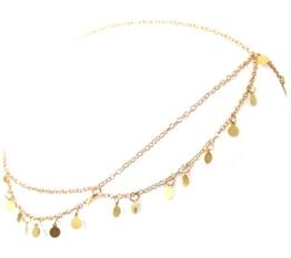2LIVEfor Haarschmuck Türkis Tropfen Orientalische Haarkette Libelle Kopfkette gold Haarband Band Kette Pailletten Party Festival Kopfschmuck Perlen Weiß (Gold Pailletten) -