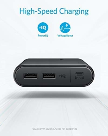 Anker PowerCore 13000mAh Powerbank Externer Akku 2-Port 3A Tragbares Ladegerät mit PowerIQ und Voltage Boost Technologie für iPhone XS Max / XR / XS / X / 8 / 8Plus / 7 / 6s / 6Plus, iPad Air 2 mini 3, Galaxy S6 / S6 Edge und Handys (Schwarz) - 3