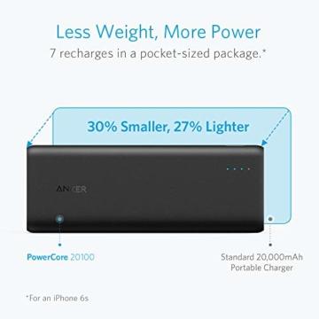 Anker PowerCore 20100mAh Externer Akku, kompakt Powerbank, hohe Kapazität 2-Port 4,8 A Output Ladegerät mit PowerIQ Technologie für iPhone, iPad, Samsung Galaxy, MP3 Player und viele mehr (Schwarz/Matt) - 2
