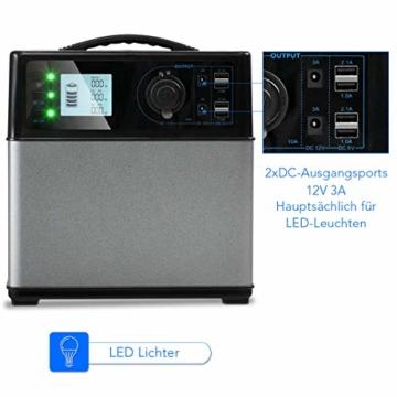 COSTWAY Energiespeicher Mobil, Hochleistungsakku Generator 400WH, Stromerzeuger Notstromaggregat Stromgenerator | Solar Ladekabel | 120000MAH | 4 USB | AC 300W-600W / 230V | Auto 120W | Tragbar - 4