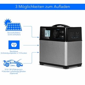 COSTWAY Energiespeicher Mobil, Hochleistungsakku Generator 400WH, Stromerzeuger Notstromaggregat Stromgenerator | Solar Ladekabel | 120000MAH | 4 USB | AC 300W-600W / 230V | Auto 120W | Tragbar - 9