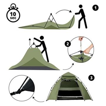 Lumaland Outdoor Pop up Kuppelzelt Wurfzelt 3 Personen Zelt Camping Festival Etc. 215 x 195 x 120 cm robust Grün - 6