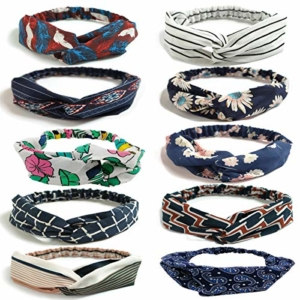 LZYMSZ 10PCS Damen Headbands Blumenmuster Headwrap Twist Knoten Haar Band Yoga Head Packungen Sport Elastic Turban -