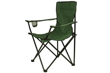 Nexos 2-er Set Angelstuhl Anglerstuhl Faltstuhl Campingstuhl Klappstuhl mit Armlehne und Getränkehalter praktisch robust leicht dunkelgrün -